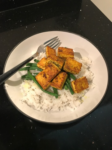 Crispy Curried Tofu With Green Beans and Rice