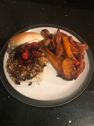 Mushroom Burger with Sweet Potato Wedges from Keep It Vegan