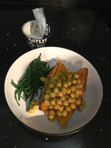 Curried Chick Peas with Sweet Potato and Samphire